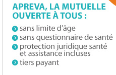 apreva, la mutuelle ouverte a tous : sans limite d'age/sans questionnaire de sante/protection juridique sante et assistance incluses/tiers payant